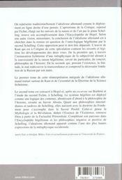 De Deux Voies De L'Idealisme Ii - Kant A Schelling - 4ème de couverture - Format classique
