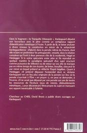 Kierkegaard Ou La Subjectivite En Miroir - 4ème de couverture - Format classique