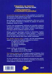 Preparation Aux Epreuves D'Admission Dans Les Ecoles D'Aides-Soignantes Et D'Auxilliaires De Puericulture - 4ème de couverture - Format classique