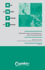 Rnti e5 ; extraction et gestion des connaissances: etat et perspectives - Intérieur - Format classique