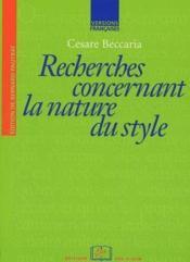 Recherches concernant la nature du style - Couverture - Format classique