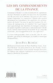 Les Dix Commandements De La Finance - 4ème de couverture - Format classique