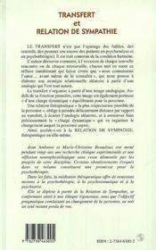 Transfert Et Relation De Sympathie - 4ème de couverture - Format classique