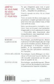 Arretez De Vous Faire Du Souci Pour Tout Et Pour Rien - 4ème de couverture - Format classique