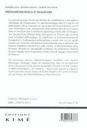 Phenomenologies Et Imaginairee - 4ème de couverture - Format classique