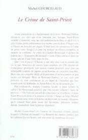 Le crime de saint-priest - 4ème de couverture - Format classique