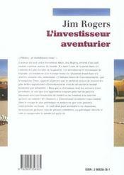 L'investisseur aventurier - 4ème de couverture - Format classique