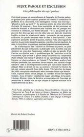 Sujet Parole Et Exclusion Une Philosophie Du Sujet - 4ème de couverture - Format classique