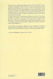 Introduction A La Psychologie Scientifique - 4ème de couverture - Format classique