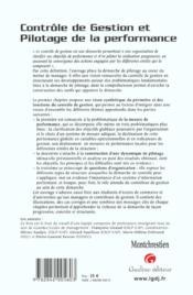 Controle De Gestion - 4ème de couverture - Format classique