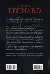 Monseigneur léonard ; entretiens avec louis mathoux - 4ème de couverture - Format classique