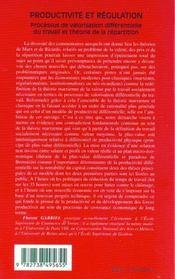 Productivite Et Regulation ; Processus De Valorisation Differentielle Du Travail Et Theorie De La Repartition - 4ème de couverture - Format classique