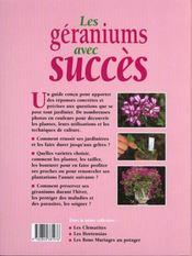 Jardinez Pratique ; Les Geraniums Avec Succes - 4ème de couverture - Format classique