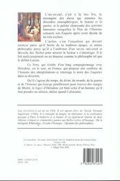 L'Arc-En-Ciel Et L'Archer. Recits Et Philosophie De L'Histoire Chez H Erodote - 4ème de couverture - Format classique