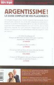 Argentissime ; Le Guide Complet De Vos Placements (Edition 2007) - 4ème de couverture - Format classique