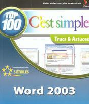 Word 2003 Top 100 C'Est Simple - Intérieur - Format classique