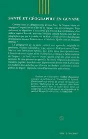 Sante Et Geographie En Guyane - 4ème de couverture - Format classique