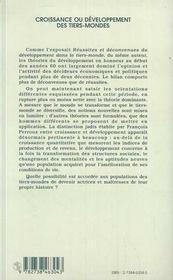 Croissance Ou Developpement Des Tiers-Mondes - 4ème de couverture - Format classique