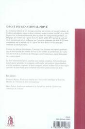 Droit International Prive, 3eme Edition - 4ème de couverture - Format classique
