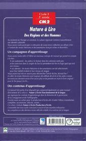Nature A Lire, Lecture, Cycle Des Approfondissements - 4ème de couverture - Format classique