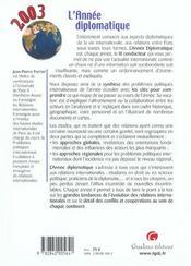 L'Annee Diplomatique 2003 - 4ème de couverture - Format classique