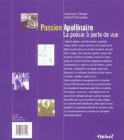Passion Apollinaire ; la poésie à perte de vue - 4ème de couverture - Format classique
