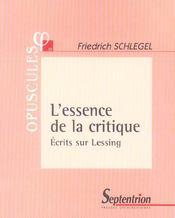 L'Essence De La Critique - Intérieur - Format classique