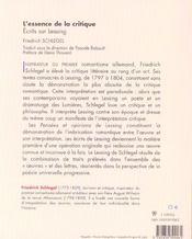 L'Essence De La Critique - 4ème de couverture - Format classique