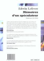 Memoires D Un Speculateur - 4ème de couverture - Format classique