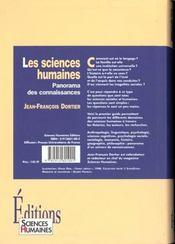 Les sciences humaines ; panorama des connaissances - 4ème de couverture - Format classique