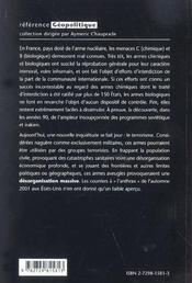 La Menace Chimique Et Biologique - 4ème de couverture - Format classique