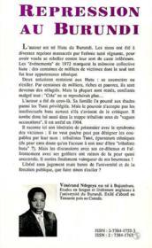 Répression au Burundi ; journal d'un prisonnier vainqueur - 4ème de couverture - Format classique