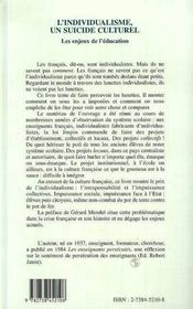 L'Individualisme, Un Suicide Culturel ; Les Enjeux De L'Education - 4ème de couverture - Format classique