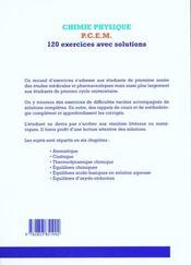Physique-Chimie ; Pcem 120 Exercices Avec Solutions - 4ème de couverture - Format classique