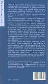 Michel de Certeau ; les chemins d'histoire - 4ème de couverture - Format classique