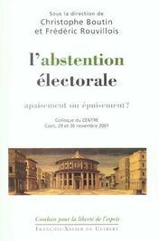 Abstentionnisme Electoral - Apaisement Ou Epuisement - Intérieur - Format classique