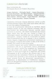 Abstentionnisme Electoral - Apaisement Ou Epuisement - 4ème de couverture - Format classique