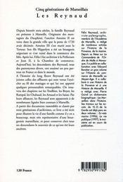 Cinq generations de marseillais : les reynaud - 4ème de couverture - Format classique
