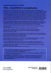 Villes, compétitivité et mondialisation ; examens territoriaux de l'OCDE - 4ème de couverture - Format classique