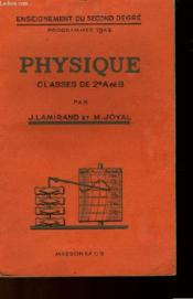 PHYSIQUE - CLASSES DE 2e A et B - Couverture - Format classique