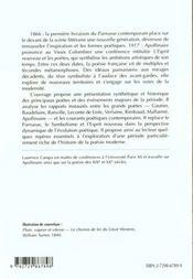 Parnasse Symbolisme Esprit Nouveau - 4ème de couverture - Format classique