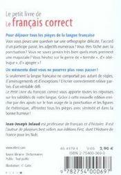 Le français correct - 4ème de couverture - Format classique