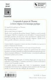 Comprendre Le Propre De L'Homme - 4ème de couverture - Format classique