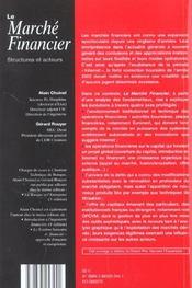 Marche financier, structures et acteurs - 4ème de couverture - Format classique