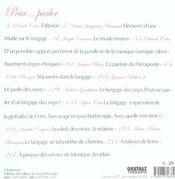 Cahier De Gt 17 - Pour...Parler - 4ème de couverture - Format classique