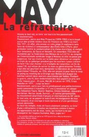 May La Refractaire - 4ème de couverture - Format classique