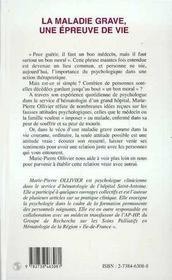 La Maladie Grave, Une Epreuve De Vie - 4ème de couverture - Format classique