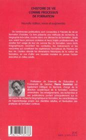 L'Histoire De Vie Comme Processus De Formation - 4ème de couverture - Format classique