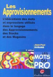 Mots Du Pro - Les Approvisionnements (Les) - Intérieur - Format classique