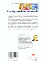 Mots Du Pro - Les Approvisionnements (Les) - 4ème de couverture - Format classique